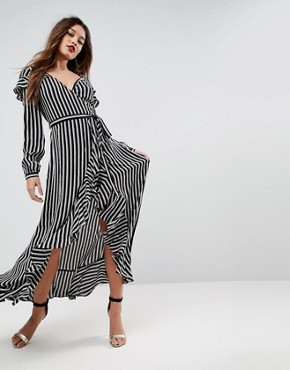 photo Long Sleeve Ruffle Wrap Tea Maxi Dress in Stripe by ASOS, color Multi - Image 1