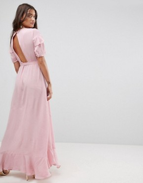 photo Short Sleeve Ruffle Wrap Maxi Dress by ASOS, color Nude - Image 2