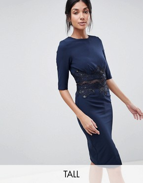 photo Pencil Dress with Mesh Insert & Sequin by Little Mistress Tall, color Navy - Image 1
