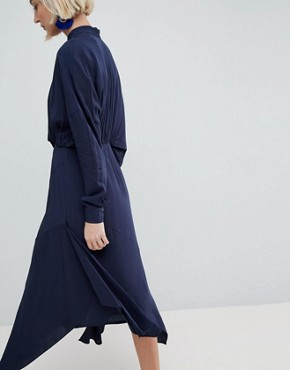 photo Tuck Detail Midi Dress by ASOS WHITE, color Navy - Image 2