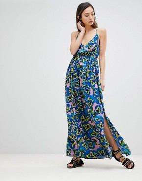 photo Pansy Print Wrap Plunge Maxi Beach Dress by ASOS, color Pansy Print - Image 1