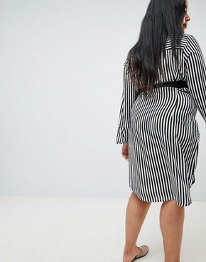 photo Shirt Dress in Stripe with Waist Belt by Lost Ink Plus, color Stripe Print - Image 2