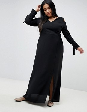 photo Maxi Dress with Cold Shoulder by Lost Ink Plus, color Black - Image 4