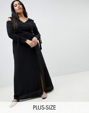 photo Maxi Dress with Cold Shoulder by Lost Ink Plus, color Black - Image 1