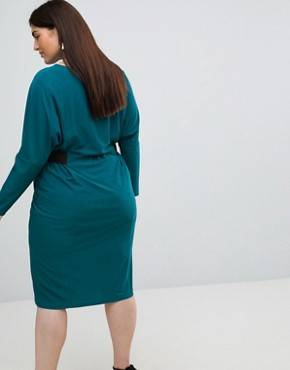 photo Midi Dress with Elastic Waist Detail by ASOS CURVE, color Teal - Image 2