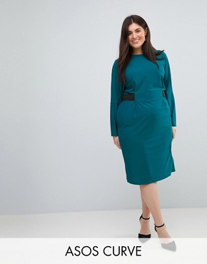 photo Midi Dress with Elastic Waist Detail by ASOS CURVE, color Teal - Image 1