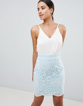 photo Lace Strappy Bodycon Dress by AX Paris, color Cream/Blue - Image 1
