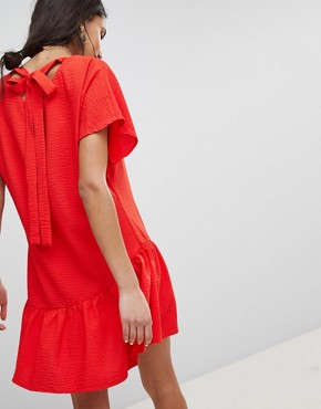 photo Shift Dress with Asymmetric Frill Hem by Lost Ink, color Red - Image 2