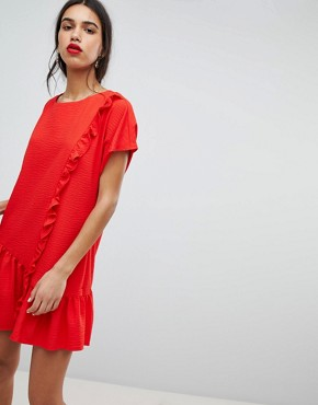 photo Shift Dress with Asymmetric Frill Hem by Lost Ink, color Red - Image 1
