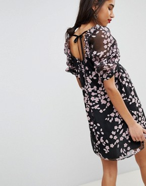 photo Floral Shift Dress in Organza with Balloon Sleeves by Lost Ink, color Black - Image 2