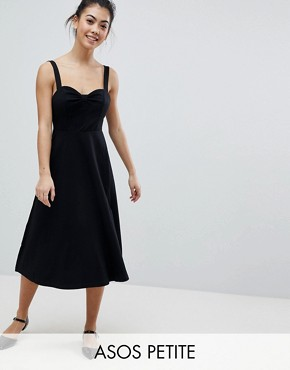 photo Midi Cotton Sundress with Cups by ASOS PETITE, color Black - Image 1