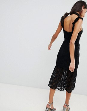 photo Lace Midi Dress in Bodycon with Frill Placket by Lost Ink, color Black - Image 2