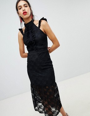 photo Lace Midi Dress in Bodycon with Frill Placket by Lost Ink, color Black - Image 1