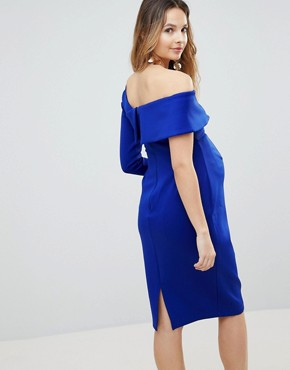 photo One Sleeve Fold Front Midi Bodycon Dress by ASOS Maternity, color Sea Blue - Image 2