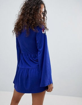 photo Embroidered Tiered Smock Dress with Long Sleeves by ASOS PETITE, color Cobalt - Image 2