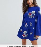 photo Embroidered Tiered Smock Dress with Long Sleeves by ASOS PETITE, color Cobalt - Image 1