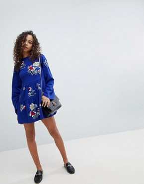 photo Embroidered Tiered Smock Dress with Long Sleeves by ASOS PETITE, color Cobalt - Image 4