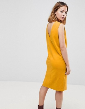 photo Sleeveless Sweat Dress with Embroidery by ASOS PETITE, color Mustard - Image 2