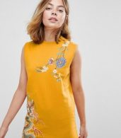 photo Sleeveless Sweat Dress with Embroidery by ASOS PETITE, color Mustard - Image 3