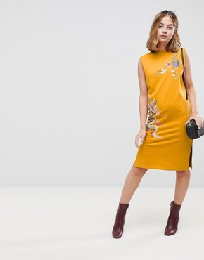photo Sleeveless Sweat Dress with Embroidery by ASOS PETITE, color Mustard - Image 4