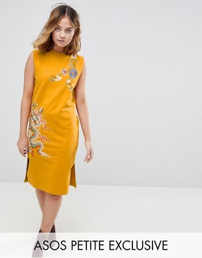 photo Sleeveless Sweat Dress with Embroidery by ASOS PETITE, color Mustard - Image 1