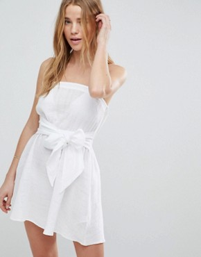 photo Natural Fabric Bow Front Bandeau Beach Dress by ASOS, color White - Image 1