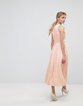 photo Asymmetric Shoulder Pleated Midi Dress by Three Floor, color Nude - Image 2