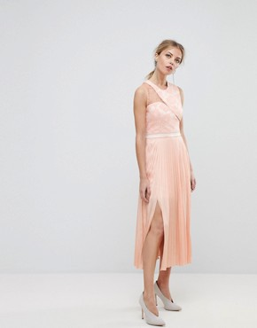 photo Asymmetric Shoulder Pleated Midi Dress by Three Floor, color Nude - Image 1
