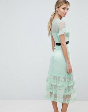 photo Tiered Midi Dress with Contrast Waistband by Three Floor, color Mint - Image 2