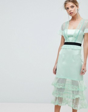 photo Tiered Midi Dress with Contrast Waistband by Three Floor, color Mint - Image 1