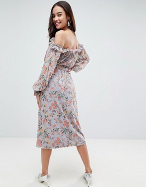 photo Bardot Printed Mesh Midi Dress with Self Belt by ASOS, color Floral Print - Image 2