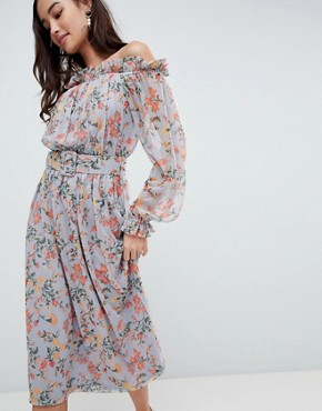 photo Bardot Printed Mesh Midi Dress with Self Belt by ASOS, color Floral Print - Image 1
