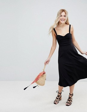 photo Midi Cotton Sundress with Cups by ASOS, color Black - Image 1