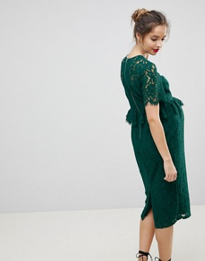 photo Lace Pencil Dress with Frill Pephem by ASOS Maternity, color Green - Image 2