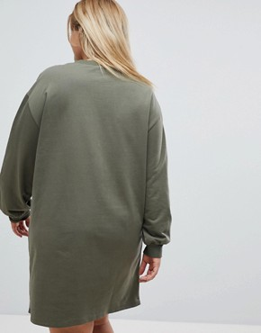 photo Oversized Sweat Dress with Zip Detail by ASOS CURVE, color Khaki - Image 2