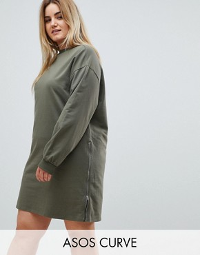 photo Oversized Sweat Dress with Zip Detail by ASOS CURVE, color Khaki - Image 1