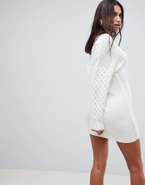 photo Oversized Chunky Dress with Tipping by ASOS DESIGN, color Cream - Image 2