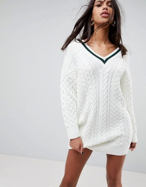 photo Oversized Chunky Dress with Tipping by ASOS DESIGN, color Cream - Image 1