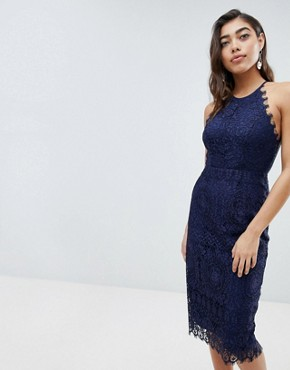 photo Lace Pinny Scallop Edge Midi Pencil Dress by ASOS, color Navy - Image 2
