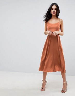 photo Square Neck Cami Dress in Midi Length by ASOS, color Copper - Image 1
