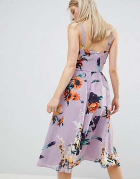 photo Lilac Floral Print Midi Dress with Cut Out Side by ASOS DESIGN, color Lilac Floral Print - Image 2