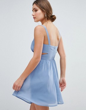 photo Side Cut Out Mini Dress with Cami Straps by ASOS, color Light Blue - Image 2
