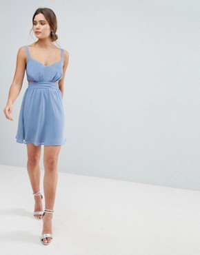 photo Side Cut Out Mini Dress with Cami Straps by ASOS, color Light Blue - Image 1