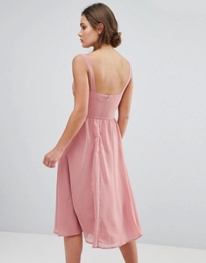 photo Side Cut Out Midi Dress with Cami Straps by ASOS, color Nude - Image 2