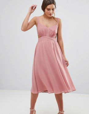 photo Side Cut Out Midi Dress with Cami Straps by ASOS, color Nude - Image 1