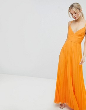 photo Cami Pleated Maxi Dress with Strappy Back by ASOS DESIGN, color Orange - Image 2