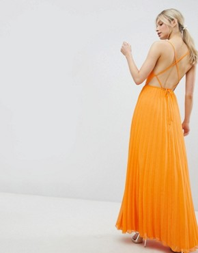 photo Cami Pleated Maxi Dress with Strappy Back by ASOS DESIGN, color Orange - Image 1