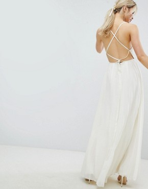 photo Cami Pleated Maxi Dress with Strappy Back by ASOS DESIGN, color Cream - Image 2
