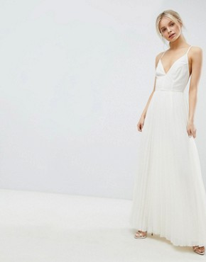 photo Cami Pleated Maxi Dress with Strappy Back by ASOS DESIGN, color Cream - Image 1