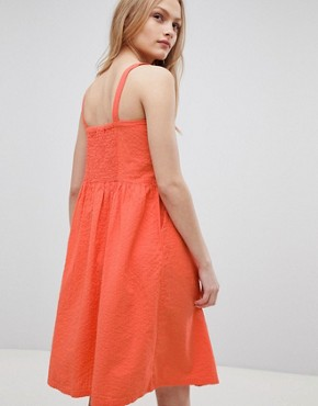 photo Sersa Seersucker Button Down Midi Dress by Blend She, color Emberglow - Image 2